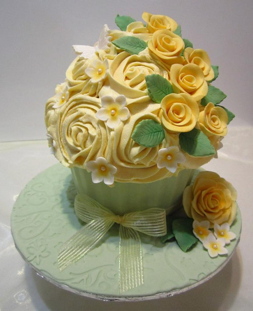 Yellow Roses Giant Cupcake by Michelle