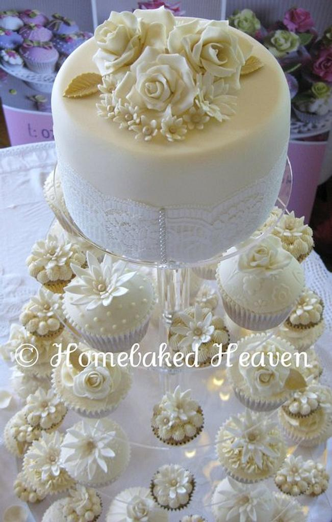 Roses, lace & pearls wedding cupcakes by Amanda Earl Cake Design