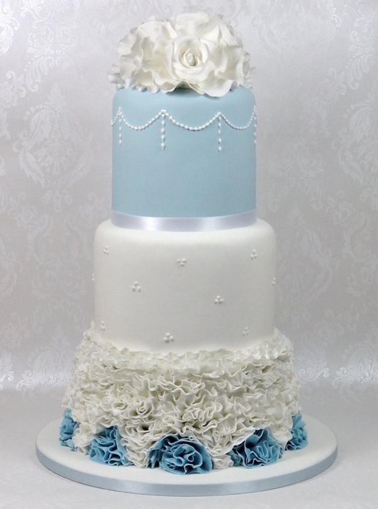 Somethingggggggggggggggggggggg Blue - Ruffles Wedding Cake by Ceri Badham