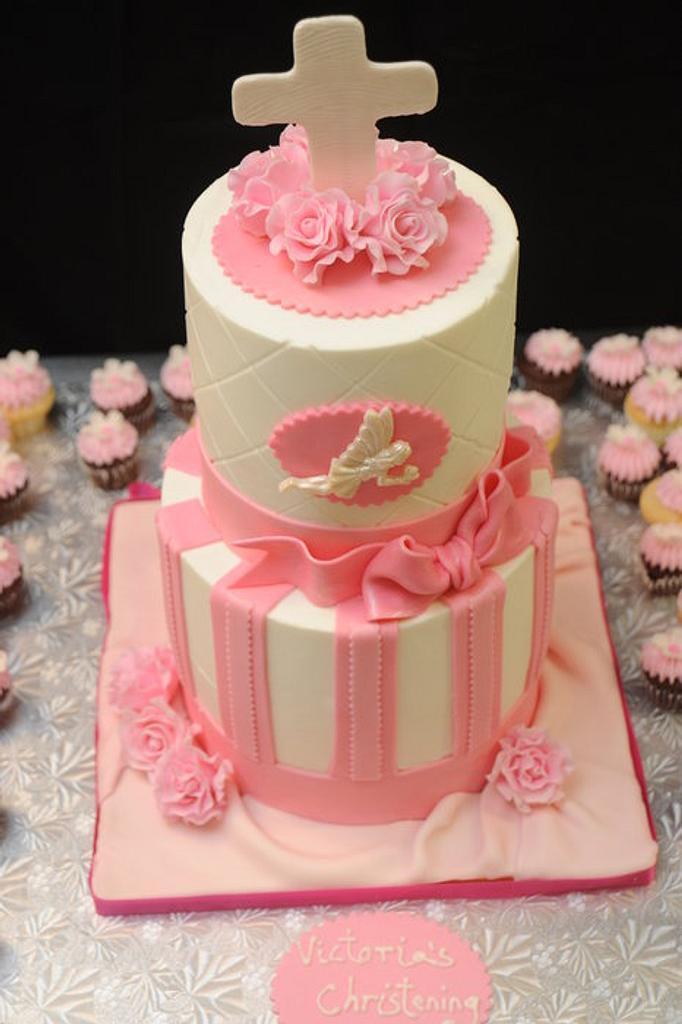 Pink Christening Cake by Sugarpixy