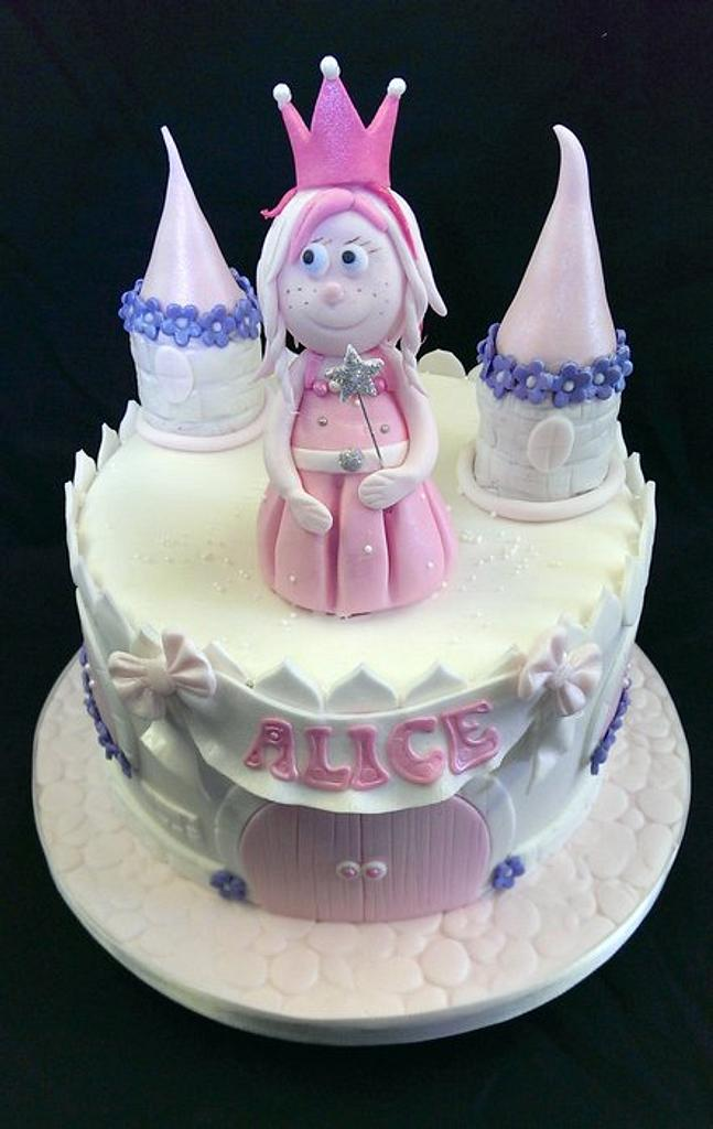Pink Princess Castle Cake by Chocomoo