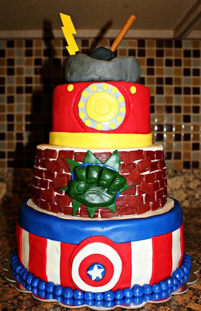 Avengers Superhero Cake by Covered In Sugar