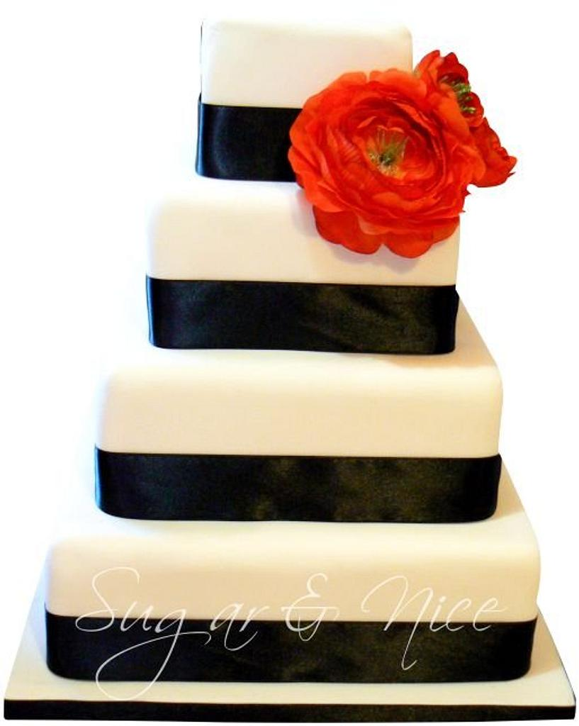 Modern Black & White Wedding Cake by Cara Maartens