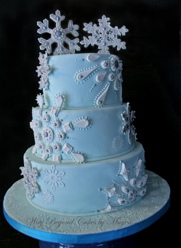 Snowflake Themed Wedding Cake by Mayen Orido