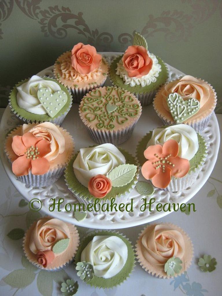 Wedding cupcake samples in vibrant olive green & warm orange hues by Amanda Earl Cake Design