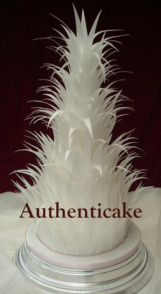 5 tier Feathers created with rice paper  by Ange Cliffe