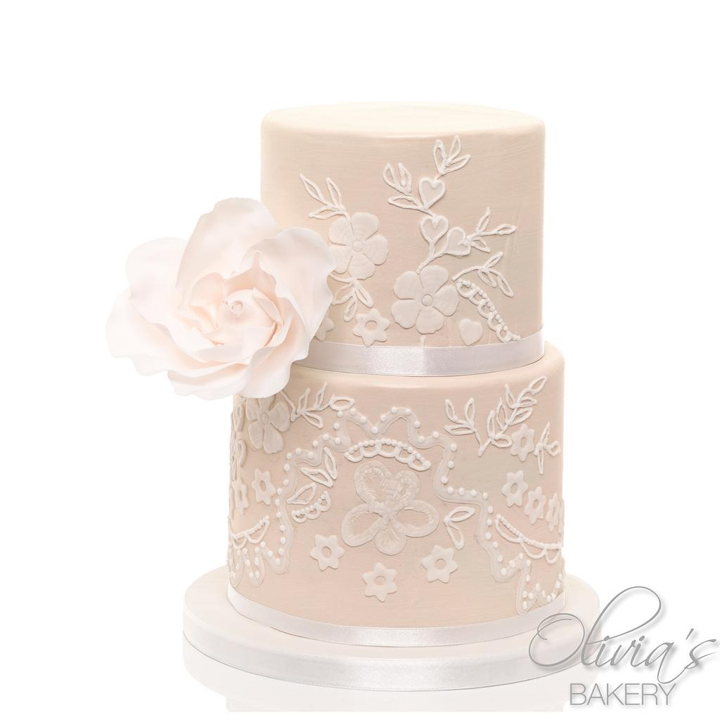 Creme Wedding Cake by Olivia's Bakery