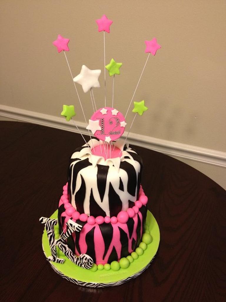Zebra stripes birthday with pink and green by Jeremy