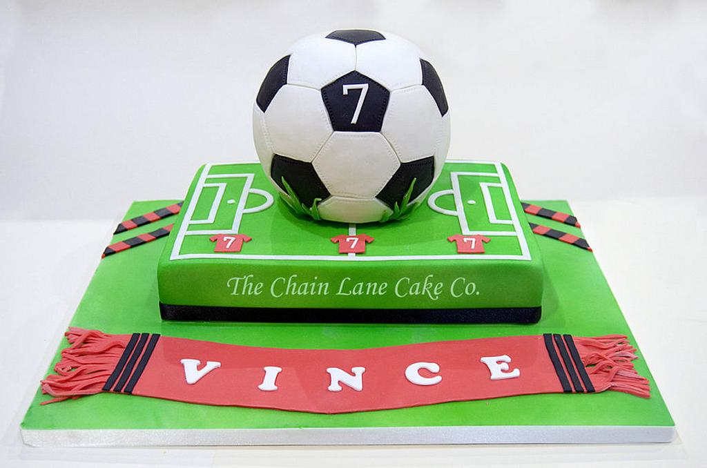 Football & pitch by The Chain Lane Cake Co.