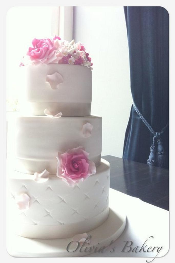 Rose Wedding Cake by Olivia's Bakery