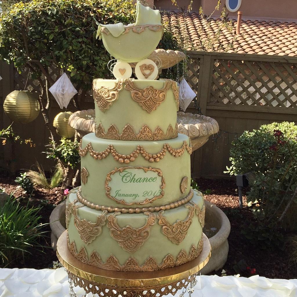 Laduree inspired baby shower cake by Fancy A Treat