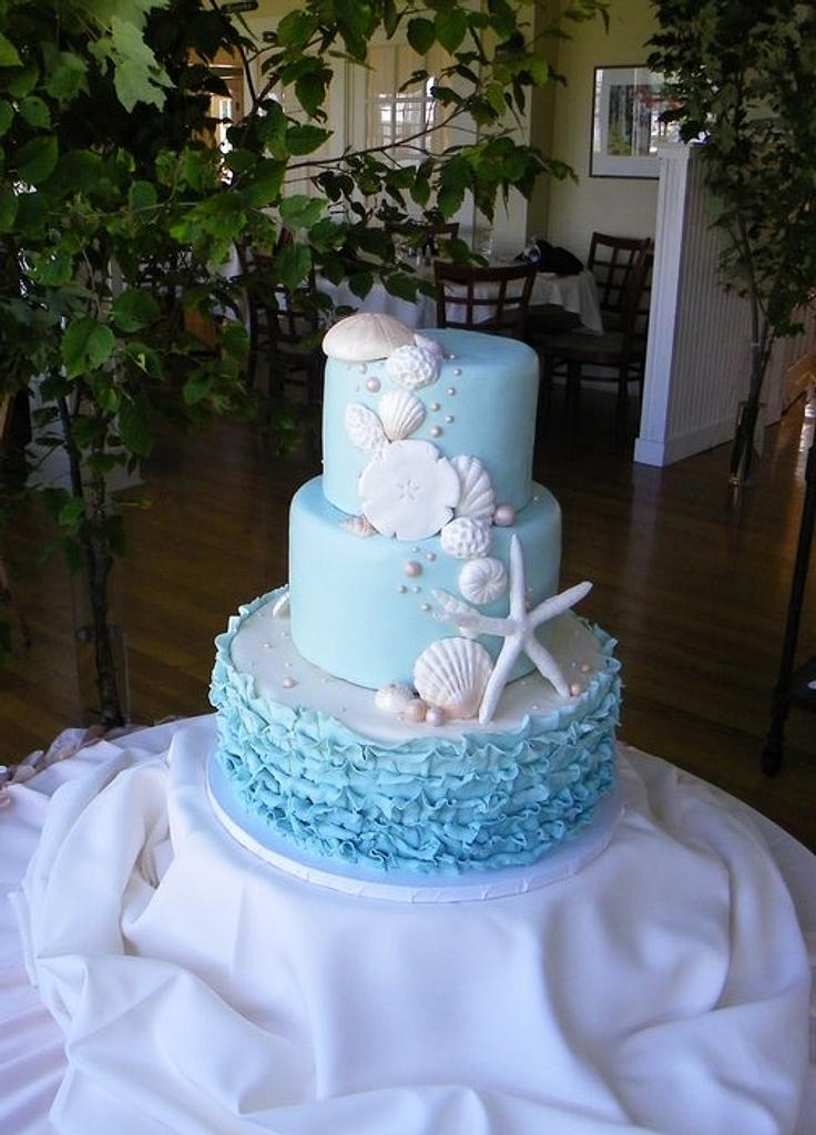 Shell Cascade Wedding Cake by Erin Gardner