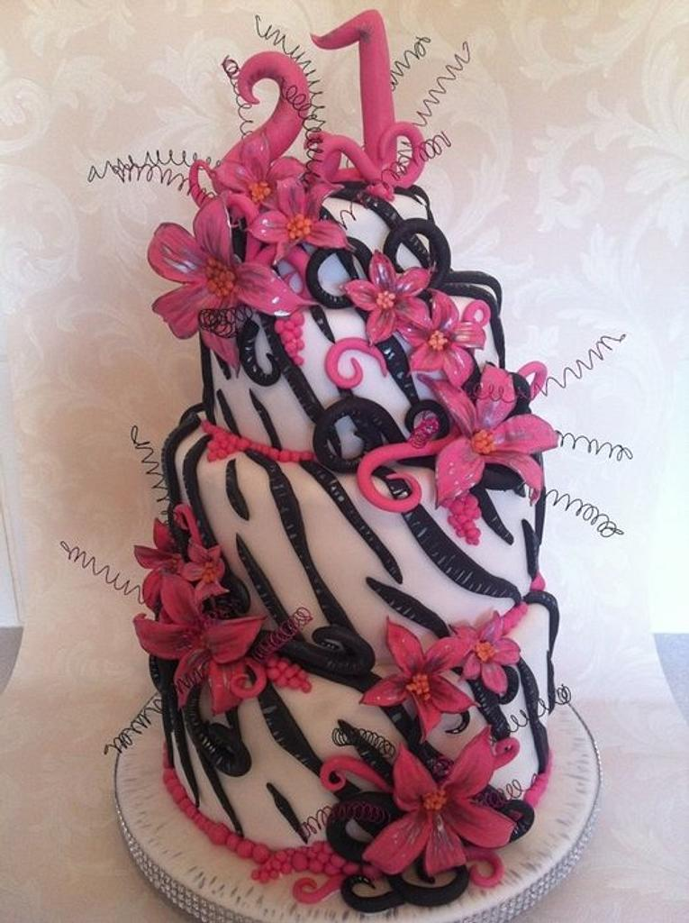 21st cake zebra n hot pink  by Claire