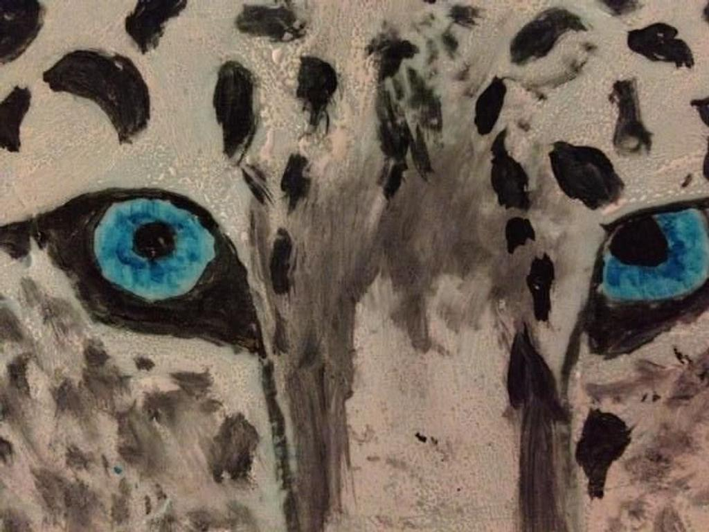 Hand Painted Snow Leopard by Stacey Fruchey