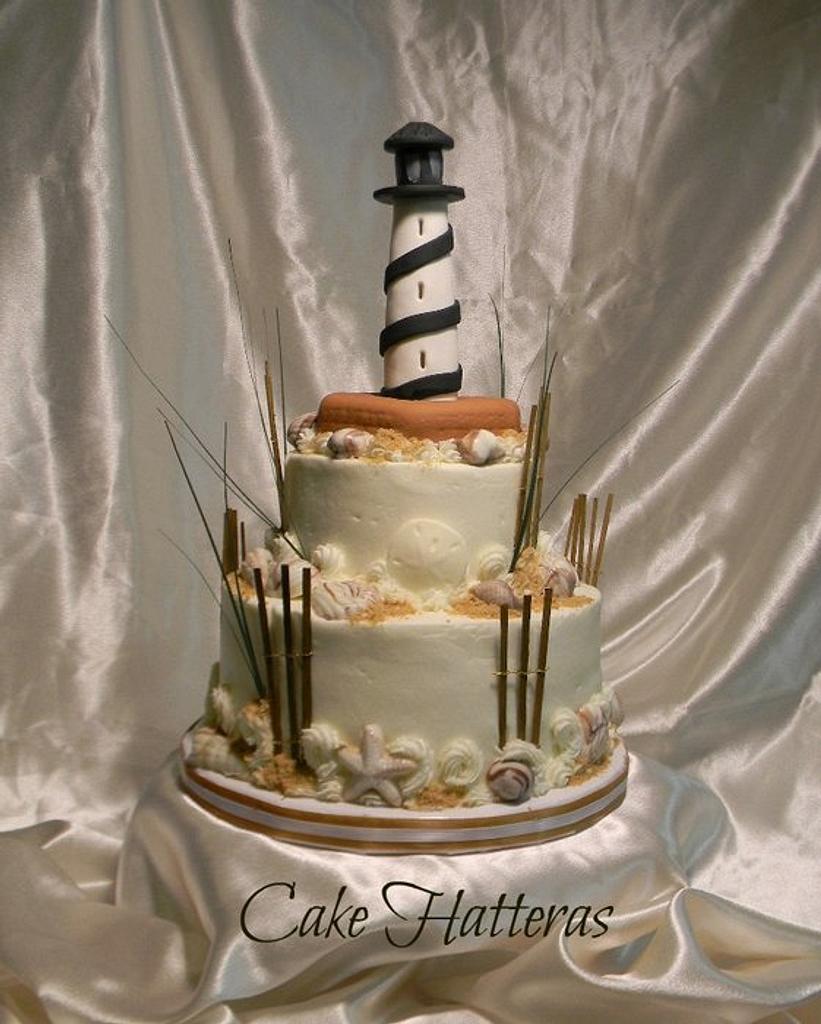 Cape Hatteras Lighthouse Wedding Cake by Donna Tokazowski- Cake Hatteras, Hatteras N.C.