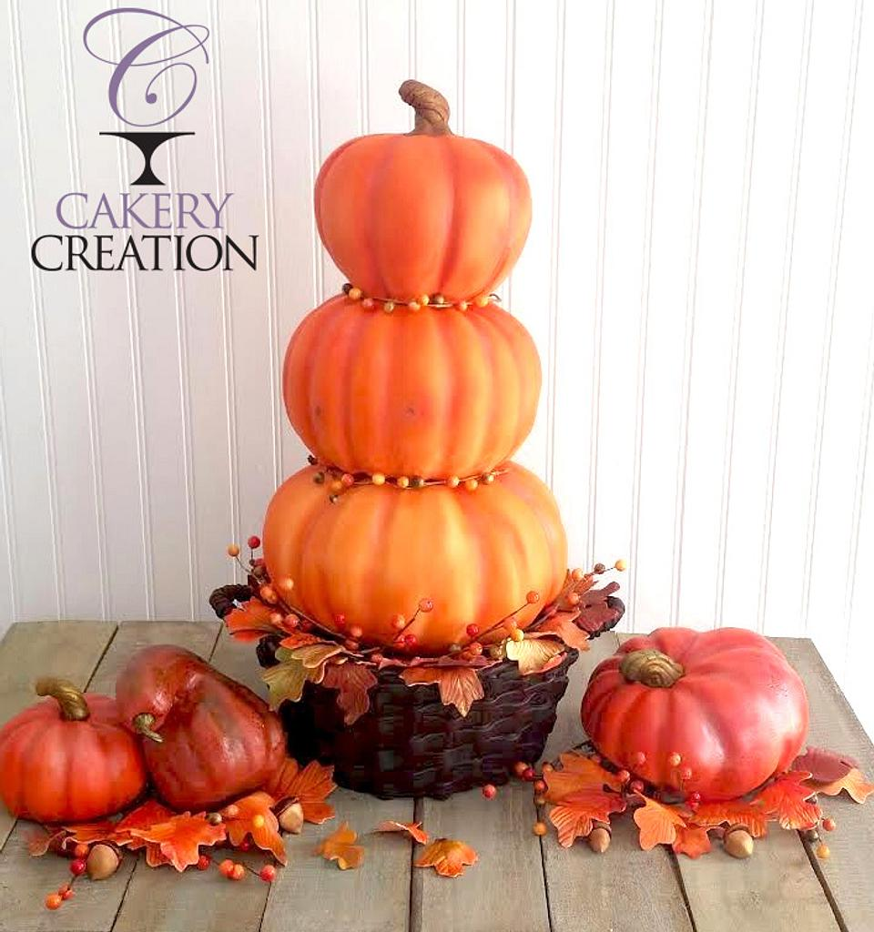 3D basket of stacked pumpkins cake by Cakery Creation Liz Huber