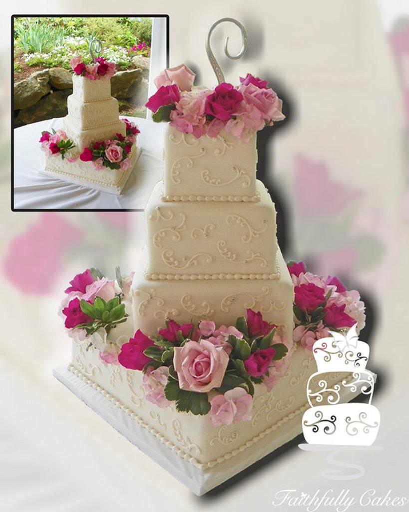 Floral Square Wedding by FaithfullyCakes