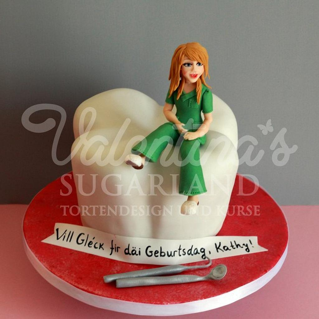 Tooth Cake with cute dentist figurine  by Valentina's Sugarland