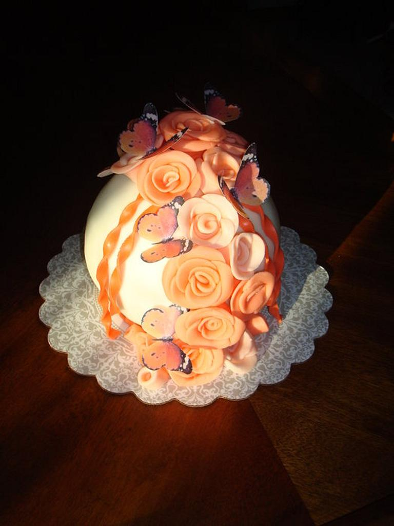 Roses & Butterflies Ball Cake by naughtyandnicecakes