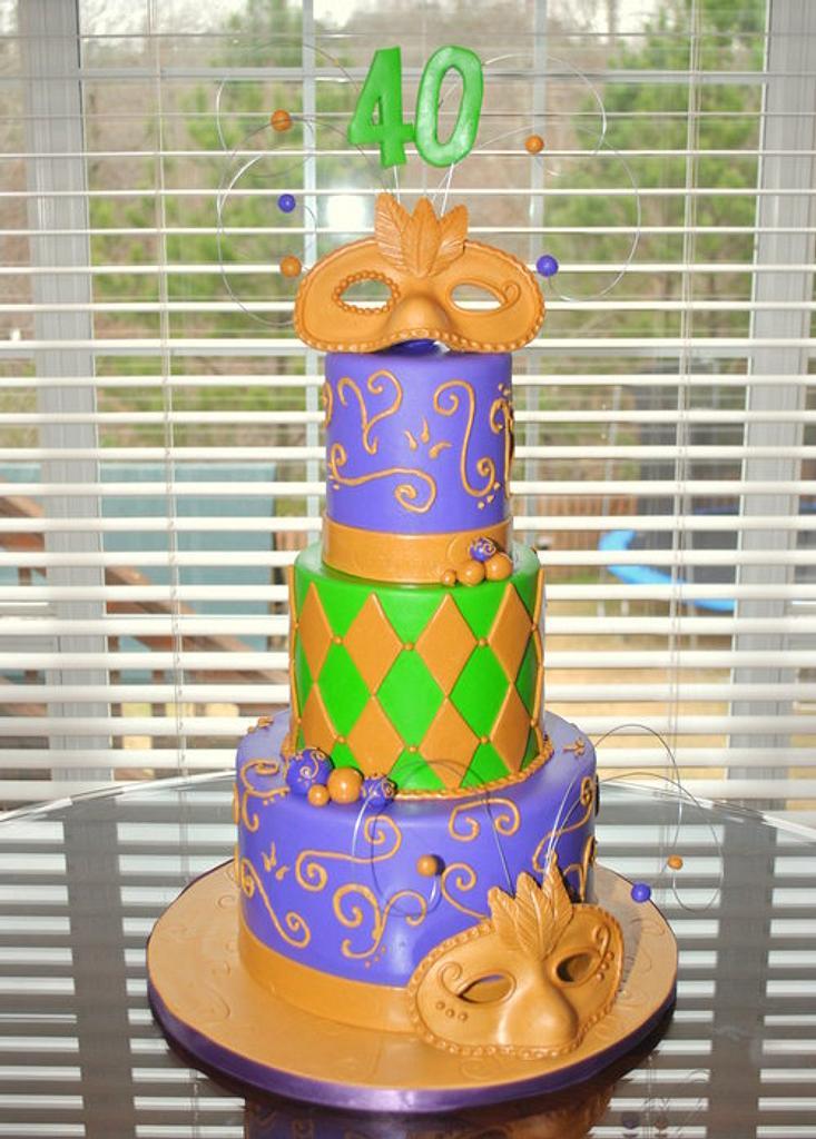 Mardi Gras Cake by Hope Crocker