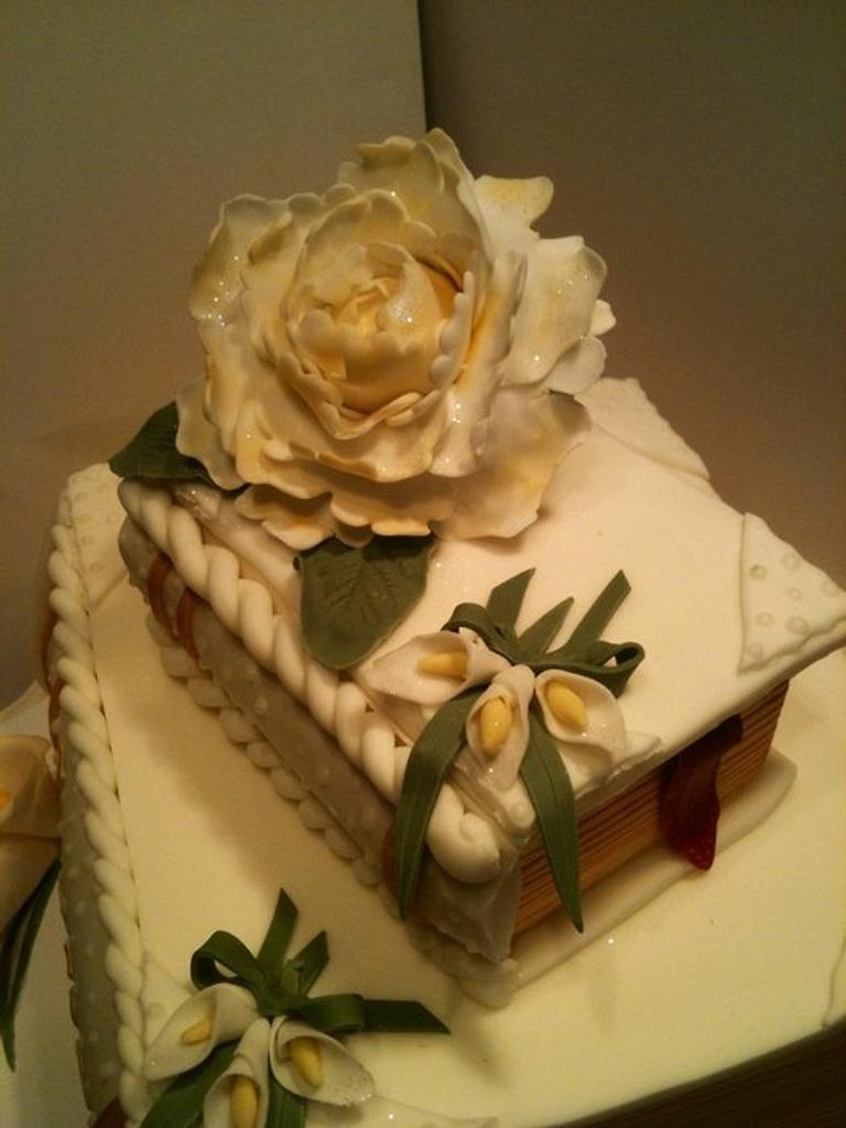 Stacked books Wedding cake, peony, also a Confirmation cake by Eve