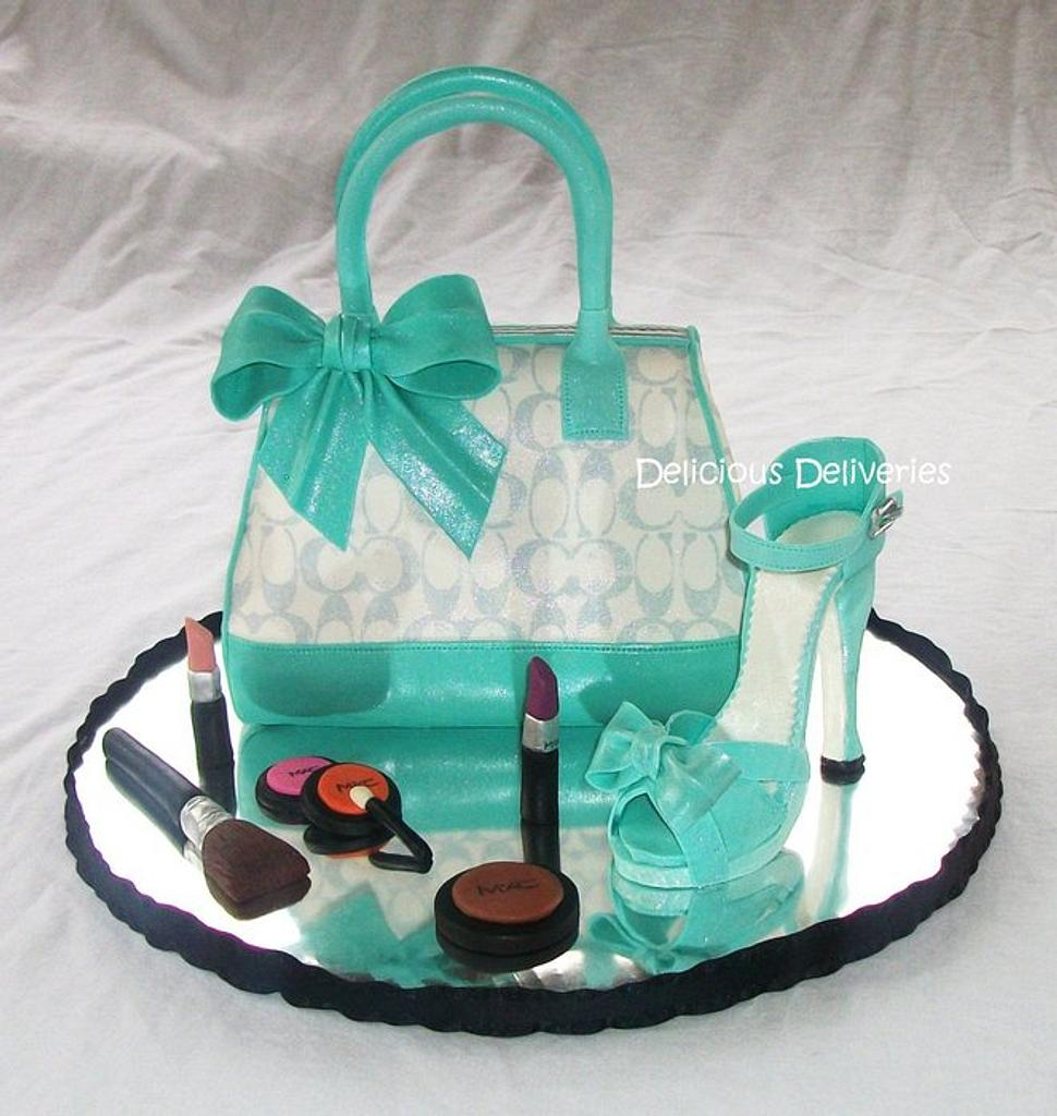 Tiffany Inspired Coach Purse Cake with Platform Shoe by DeliciousDeliveries