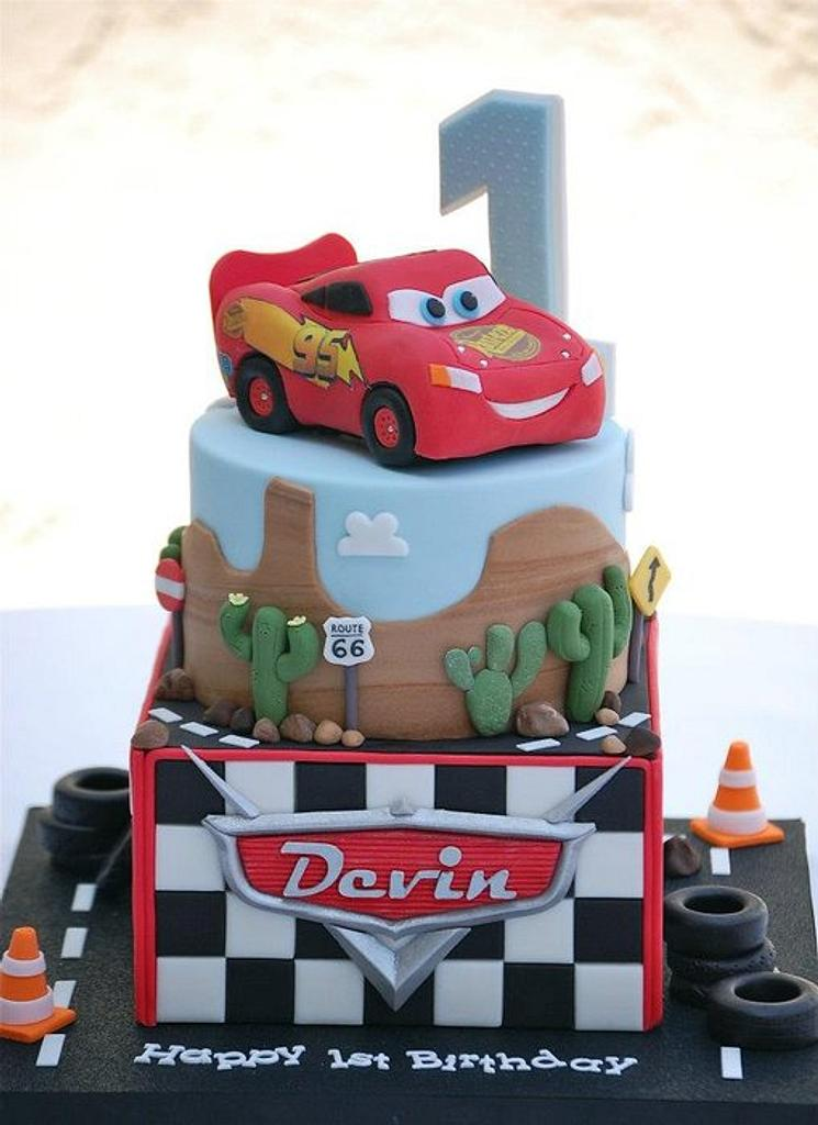 Lightning McQueen Cars Cake by Lesley Wright