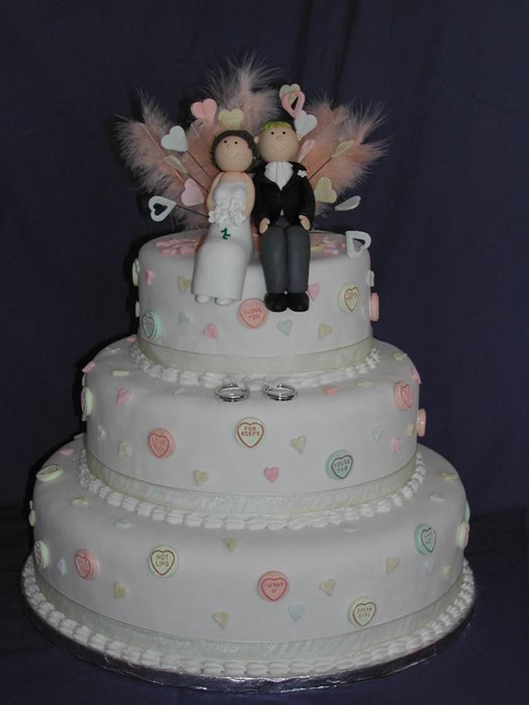 Love hearts wedding cake by Jo