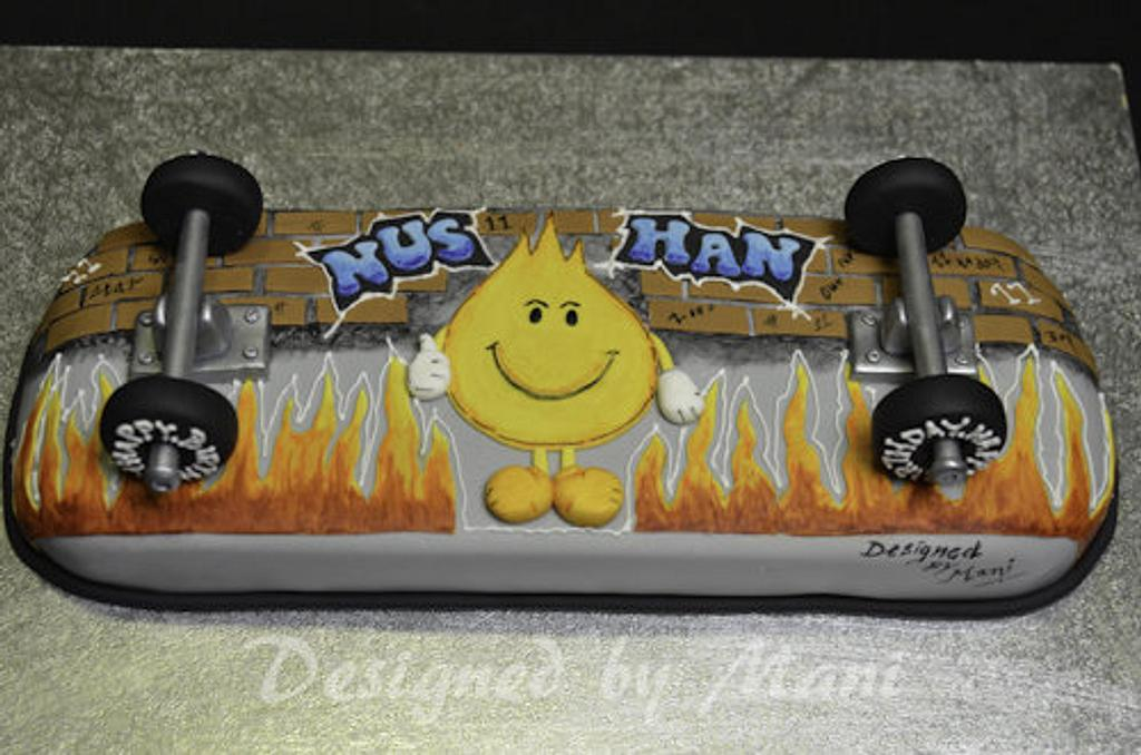 """""""skate board"""" cake by designed by mani"""