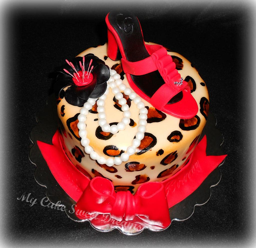 Leopard Cake (with red shoe) by My Cake Sweet Dreams