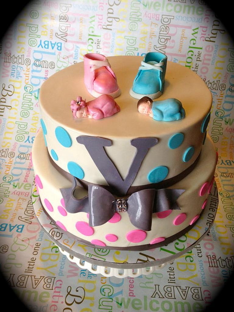 Sex Reveal Baby Shower Cake  by Heidi