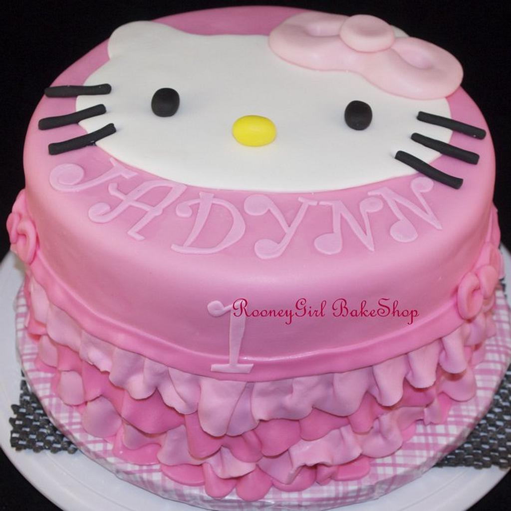 Hello Kitty Ruffle Cake by Maria @ RooneyGirl BakeShop