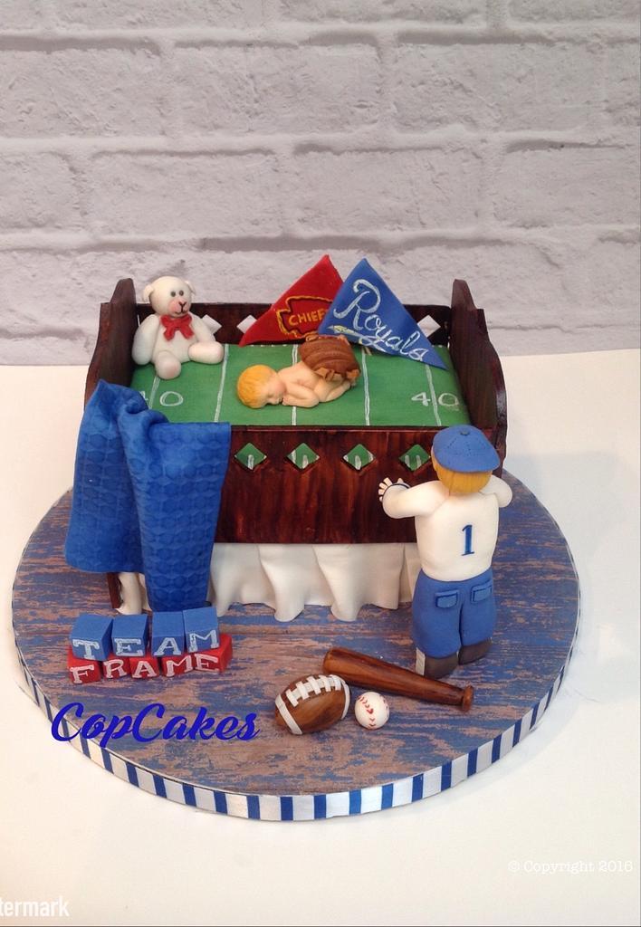 Sports team crib cake by CopCakes