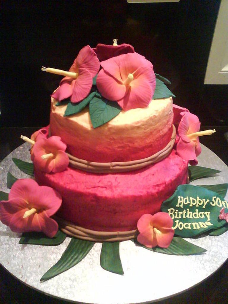 Tropical hibiscus cake by Creative Cake Studio