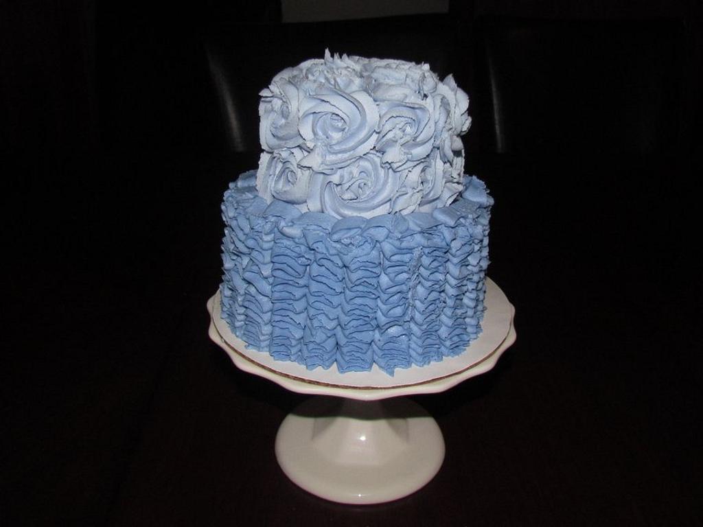 Purple Ruffles and Roses Cake by Jaybugs_Sweet_Shop