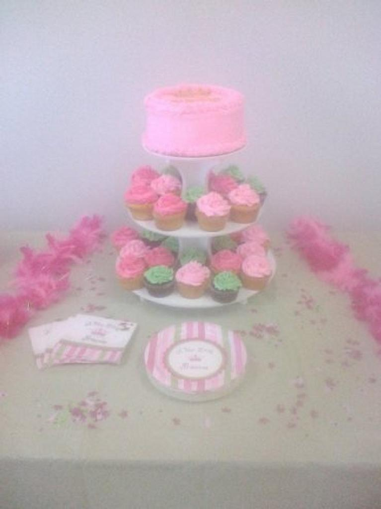 Baby Shower Cake and Cupcakes by cakediva3