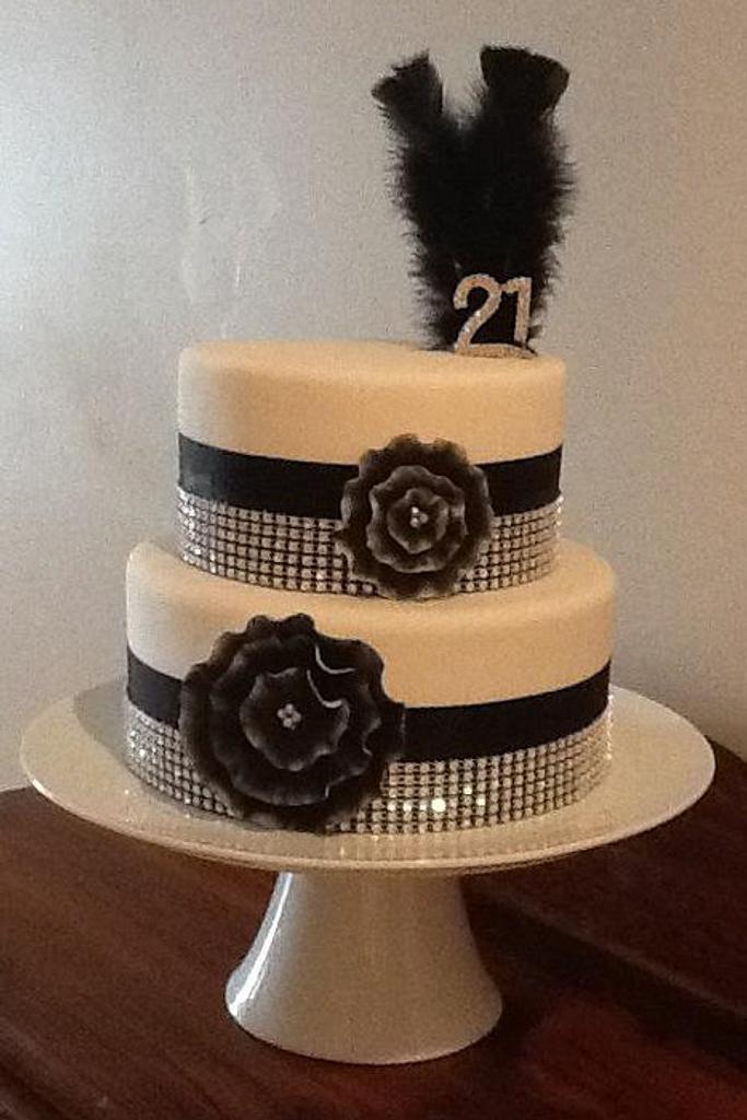 Black, White & Bling 21st Cake by Kim Jury