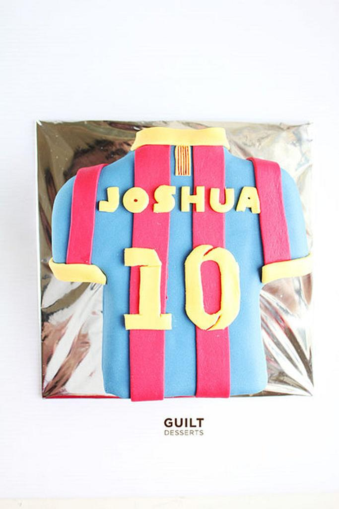 Barca - Messi Jersey Cake by Guilt Desserts