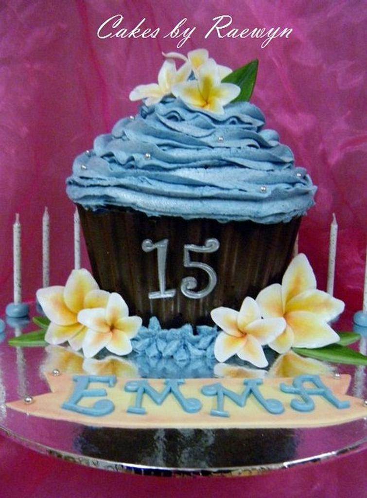 Giant cupcake with Frangipanis by Raewyn Read Cake Design