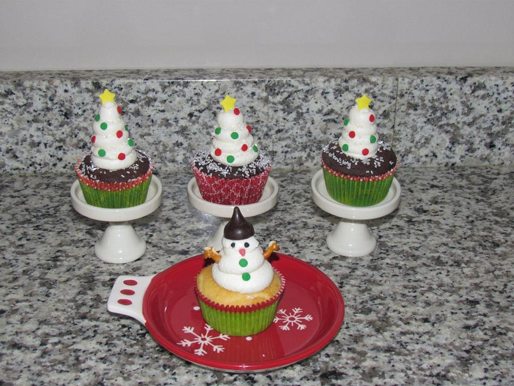 Snow-Covered White Christmas Trees and Snowman Cupcakes by Jaybugs_Sweet_Shop