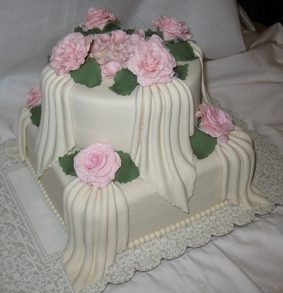 Roses & Drapes Bridal Shower Cake by DoobieAlexander