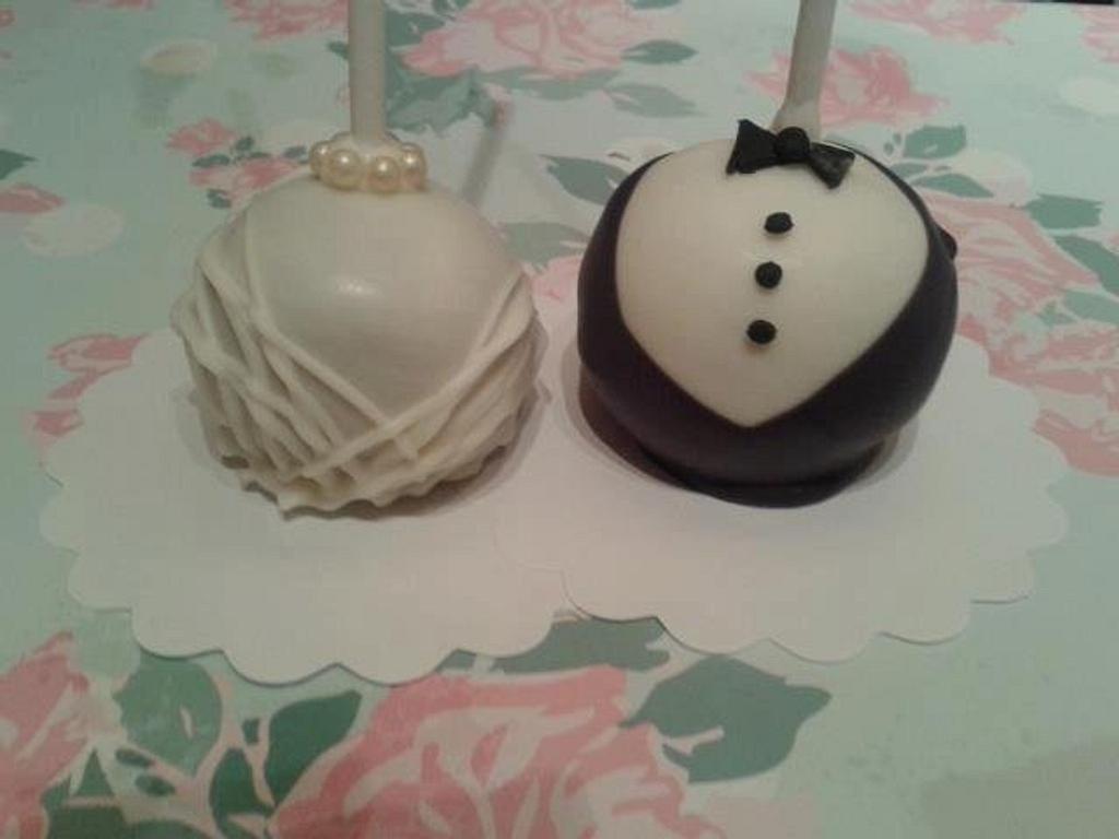 Bride and Groom Cake pops by Disneyworld25