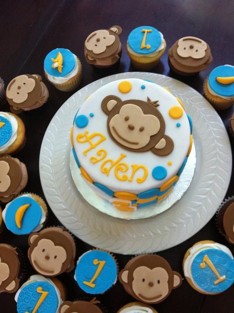 Mod monkey birthday cake with matching cupcakes by Hot Mama's Cakes