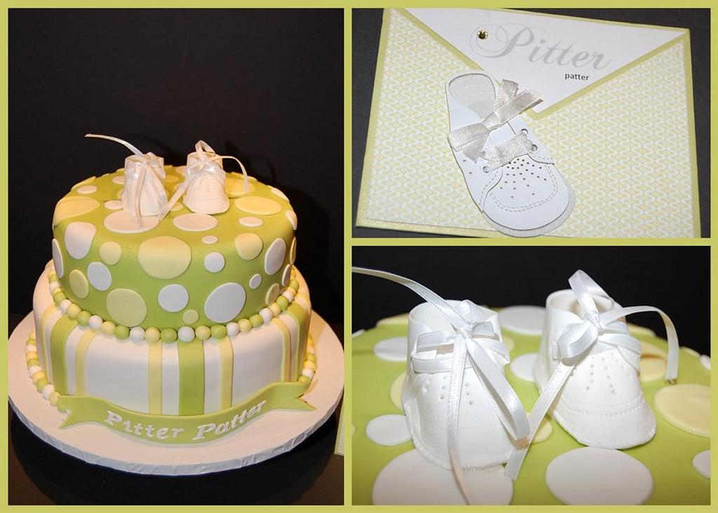 """Pitter Patter"" Baby Shower Cake by It's a Cake Thing"