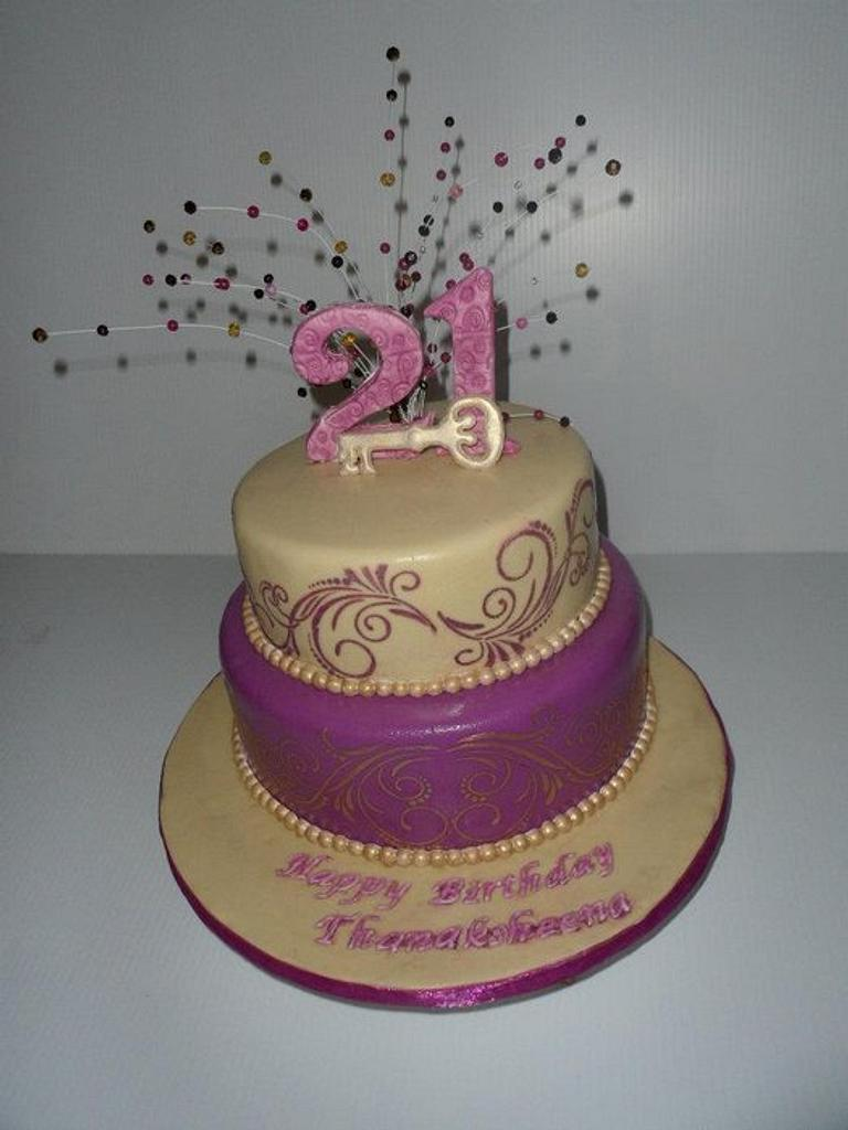 21st Birthday Cake by Saranya Thineshkanth