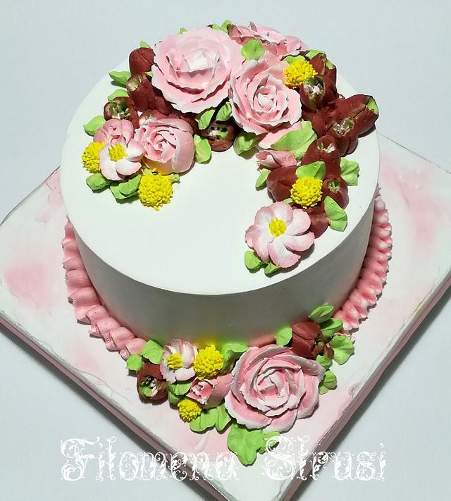 Whippingcream flower cake ...