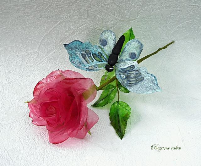 Rose of rice paper