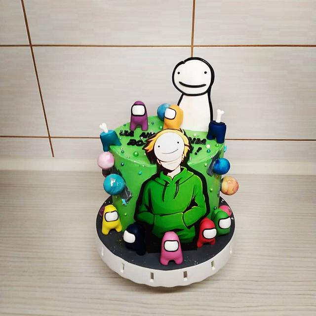 Dream cake with Among us figurines