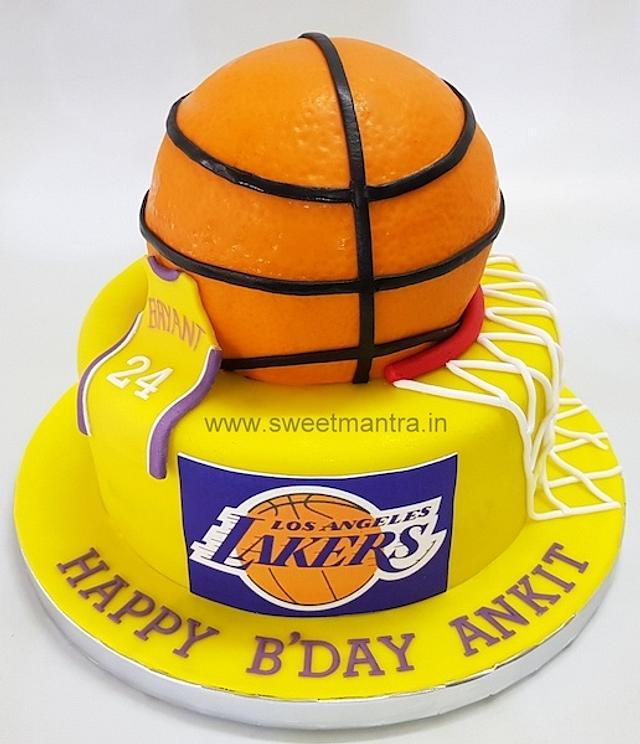 Miraculous Basketball Shaped Customised Birthday Cake With Lakers Cakesdecor Funny Birthday Cards Online Sheoxdamsfinfo
