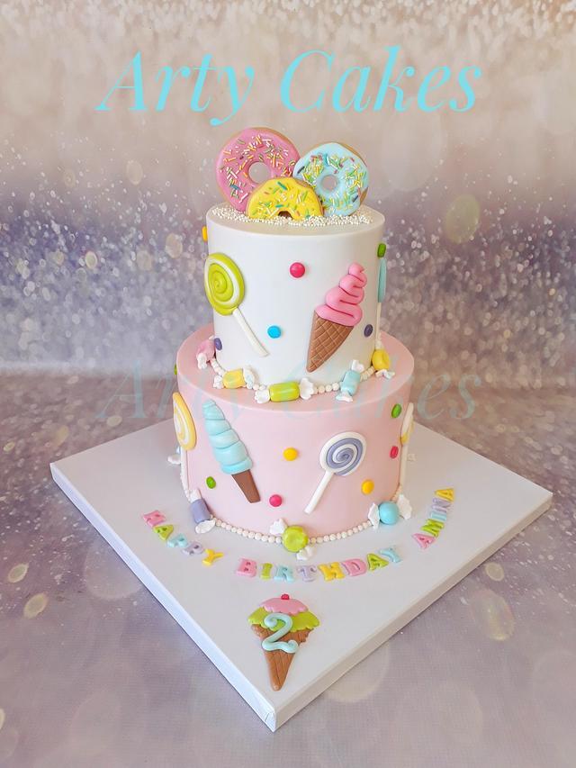 Doughnut ice cream cake